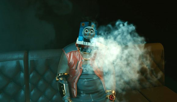 Thomas the Tank engine replaces a head in Cyberpunk 2077 - now imagine it with even better mod support