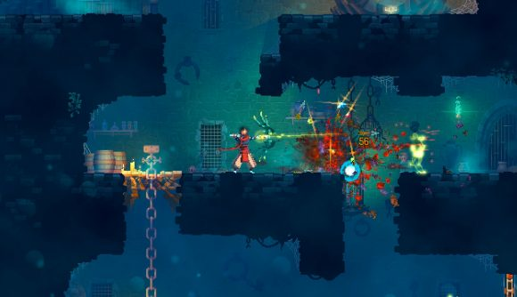 Dead Cells screenshot showing a character using a bow and arrow to kill an enemy, which is dropping lots of loot on the ground.