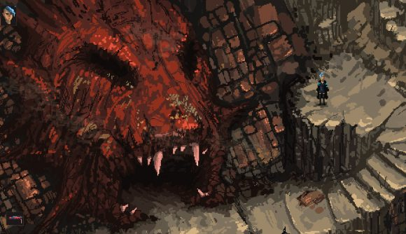 Deciding whether or not to walk inside a giant, fleshy mouth in Death Trash