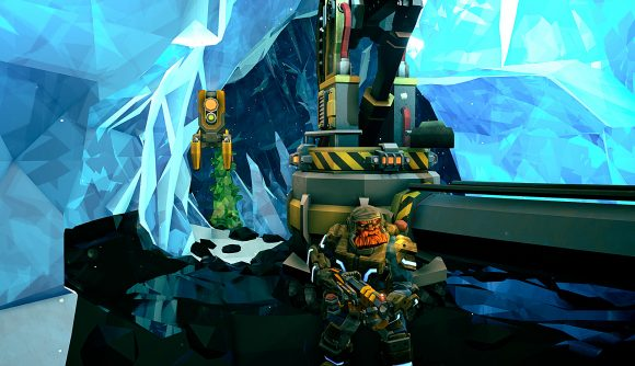 A bearded dwarf miner guards a machine deep in an ice cave in Deep Rock Galactic.