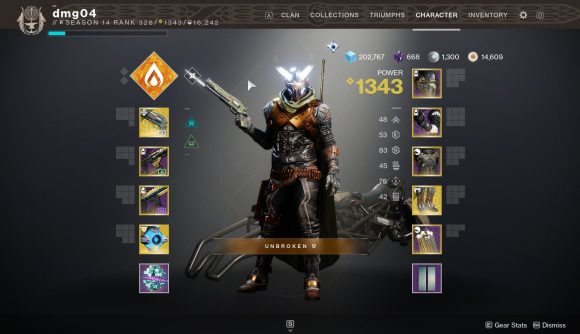 Destiny 2's character screen, including some Lucky Pants