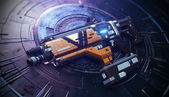 A Destiny 2 exotic weapon, Plug One.1, is seen resting on an inlaid metal surface.