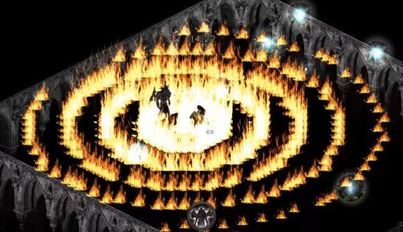 Rings of fire fill a room in Diablo II: Lord of Destruction.