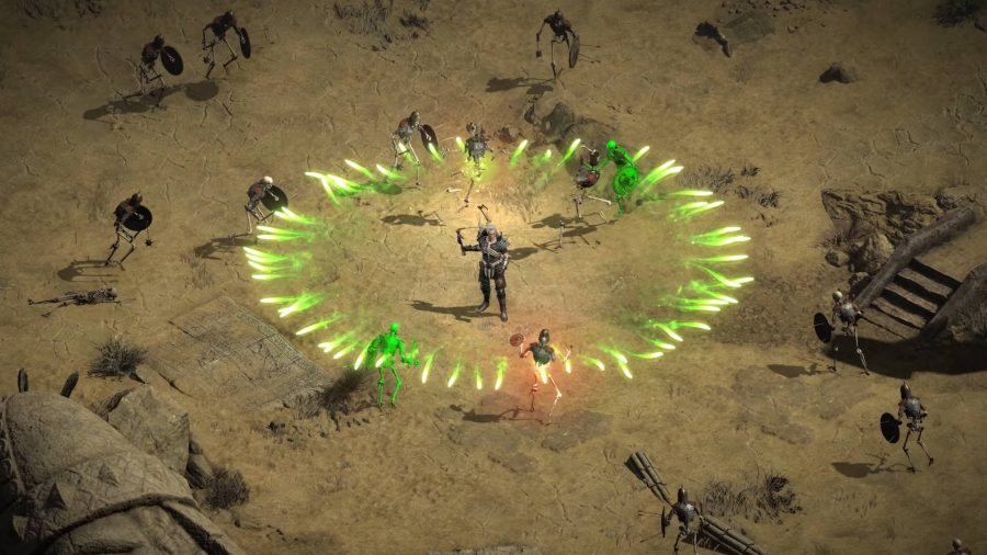 A Necromancer emitting green magic to kill monsters in Diablo 2 Resurrected.