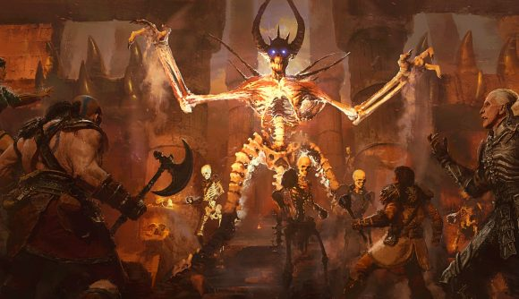 One of Diablo 2: Resurrected's enemies fighting a wave of players