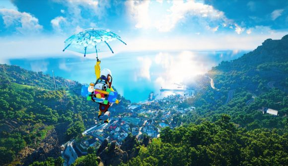A character paraglies with an umbrella above a gorgeous, nature-filled coastal city in DokeV