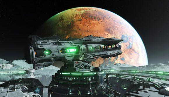 Doom Eternal's gigantic BFG 10000 is seen against the planet Mars rising in the background.