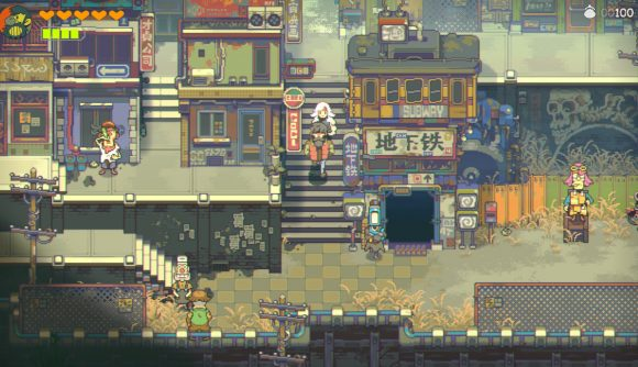 John and Sam explore a city in Eastward, coming soon to Steam and GOG