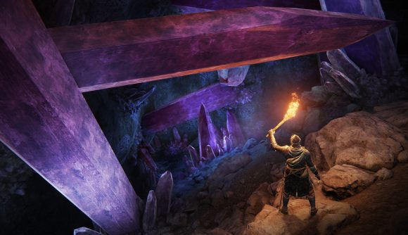 Looking at purple crystals in Elden Ring, with one of the many screenshots you can see on Steam