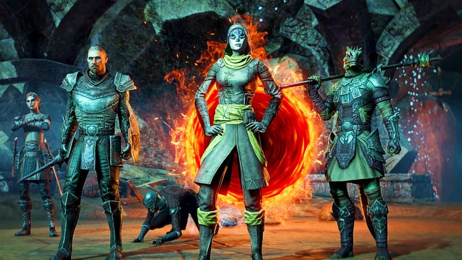 A squad of ESO players taking on the ESO Gates of Oblivion DLC