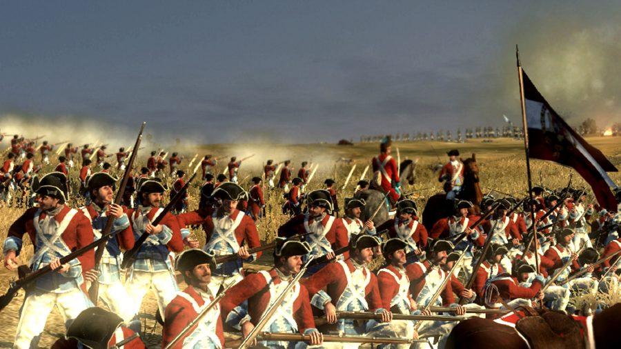 Infantry units in a firing line in empire total war mod darthmod