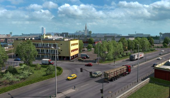 Driving down the road in Euro Truck Simulator 2