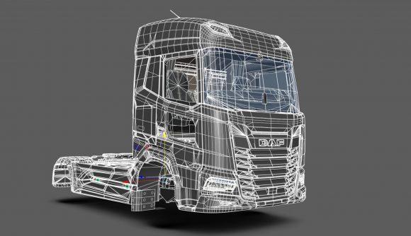 A work-in-progress version of the DAF XF in Euro Truck Simulator 2