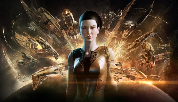 A woman in a gold uniform stands against a backdrop of gold ships emerging from a solar corona over a dark planet in an Eve Online promotional image.
