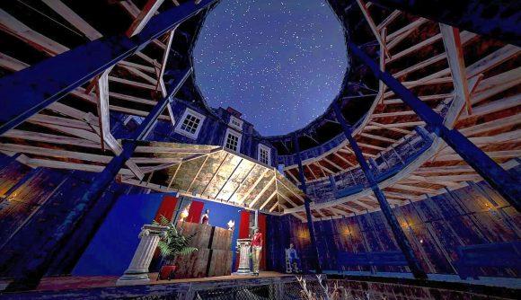 A nighttime shot of Fallout 76's fan-made Grafton Globe theatre