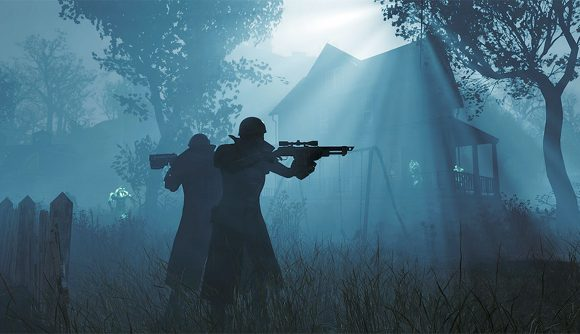 Two silhouetted figures with helmets and rifles stand in a gloomy blue setting with a rickety house behind them