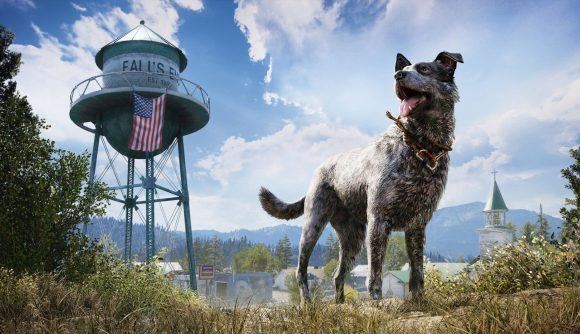 Boomer, the canine Fang for Hire in Far Cry 5, looks into the distance with the Fall's End water tower in the background.