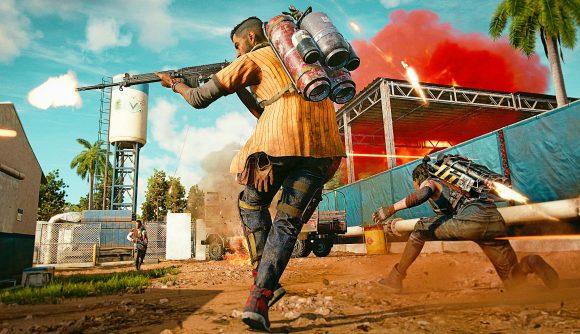 A Far Cry 6 character runs through a dusty, sunny street firing a rifle to his left