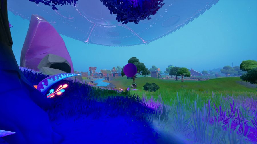 This purple floating orb is one of the Fortnite alien devices needed to activate the countermeasure.