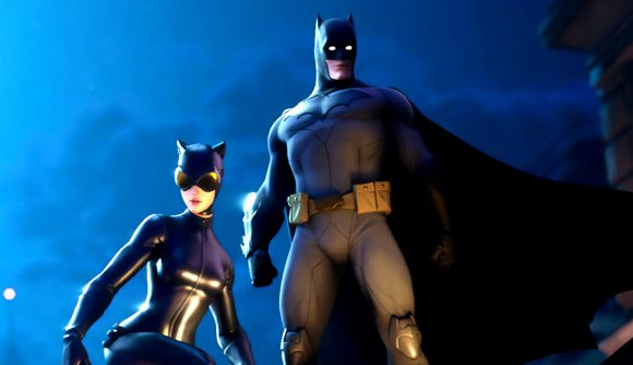 Batman and Catwoman as they appear in Fortnite, where they would absolutely never bear hug one another