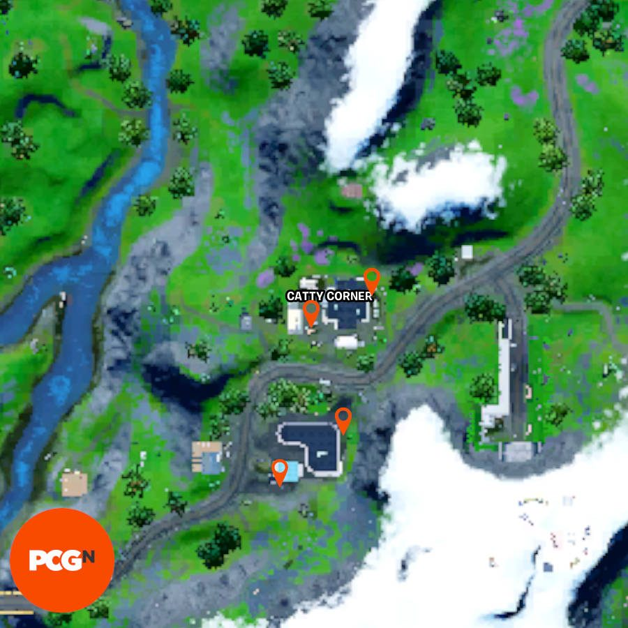 All four Fortnite vintage can of cat food locations in Catty Corner.