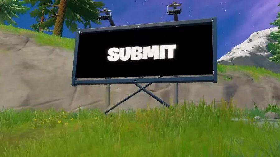 A Fortnite billboard that has been taken over by aliens
