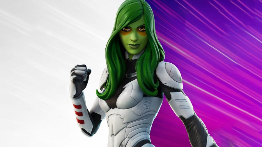 The comic book version of Gamora wearing her white and black suit in Fortnite Chapter 2 Season 7