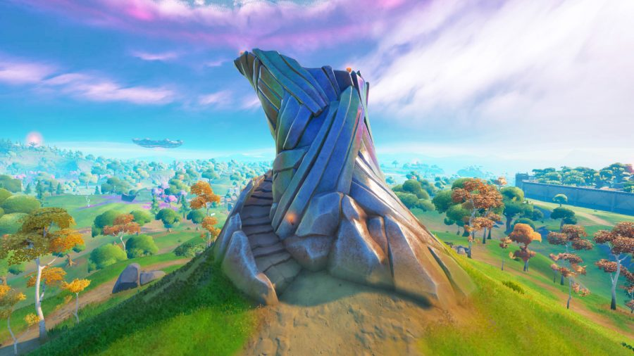 A Guardian Tower on top of a hill surrounded by grass in Fortnite Chapter 2 Season 7