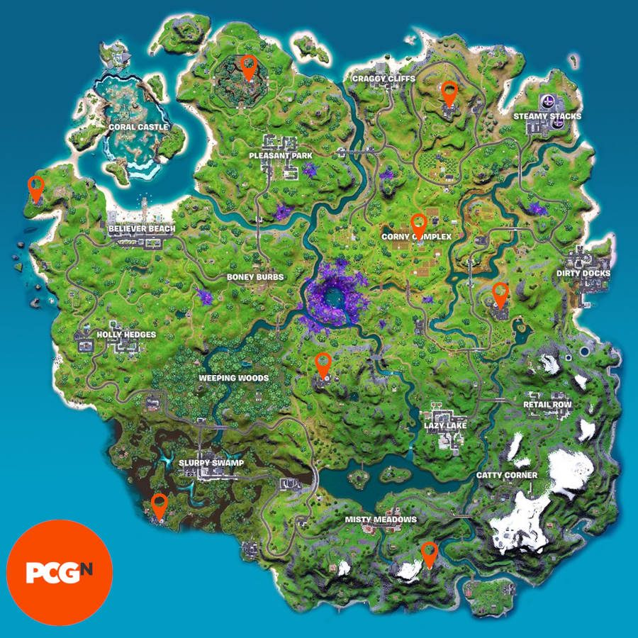 A map of the Fortnite island with pins identifying the locations of IO radar dishes