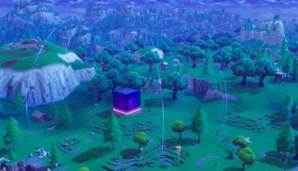 Kevin the Cube, in one of his earliest Fortnite appearances