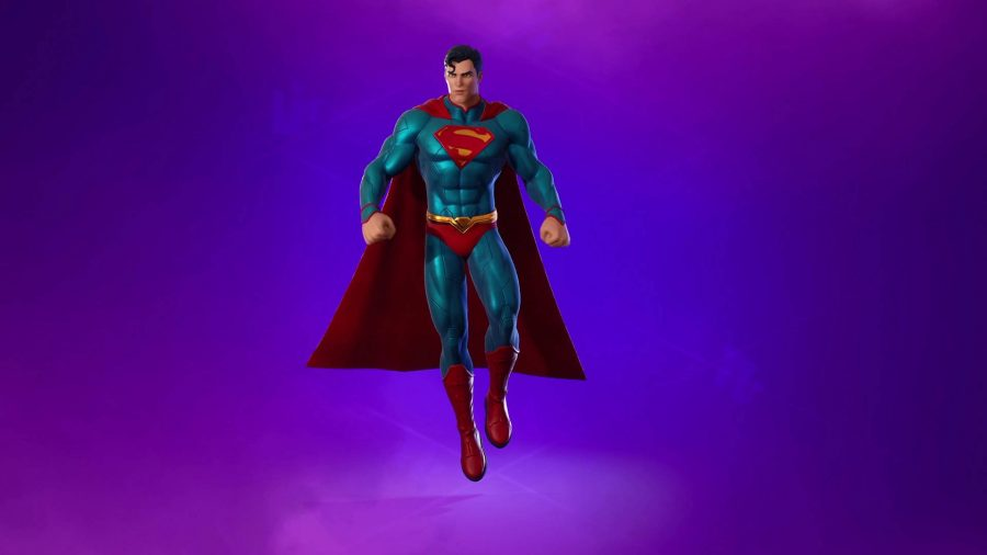 The Fortnite Superman skin is floating in the air, wearing the classic red cape and blue outfit.