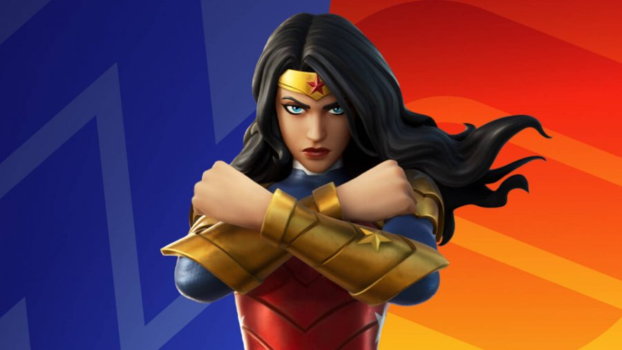 Wonder Woman posing with her arms crossed to show her arm guards in Fortnite.