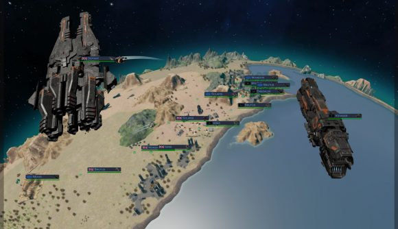 Two ships orbit a planet where expedition forces scout out the terrain below