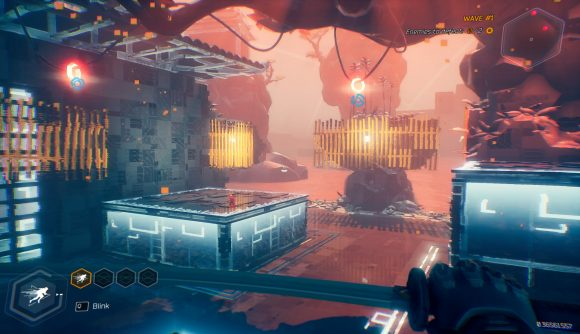 Enemies appear in the distance standing on futuristic platforms in a neon blue and pink environment in Ghostrunner