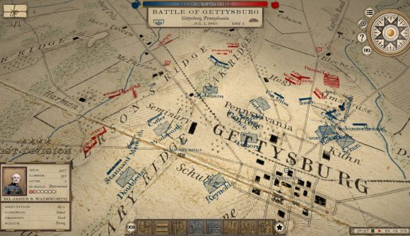 A 19th century Engineer Corps-style map of Gettysburg is seen in Grand Tactician: The Civil War (1861-1865).