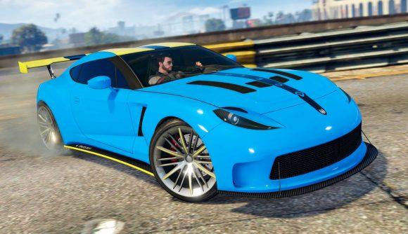 A GTA Online blue sportscar on a road
