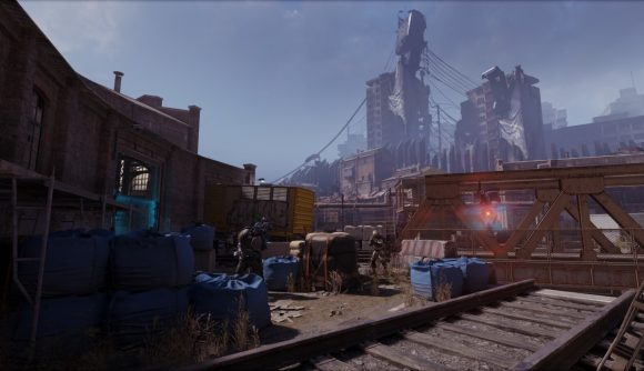 Combine troops ready their weapons in a train yard in the Half-Life: Alyx mod, Loco-Motive.