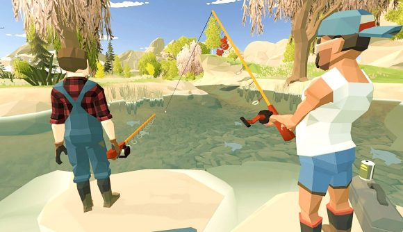 Two players go fishing in Harvest Days