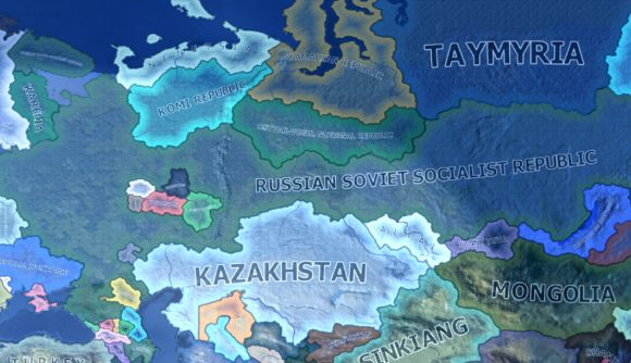 An image showing all of the new releasable nations for Russia in hearts of iron 4