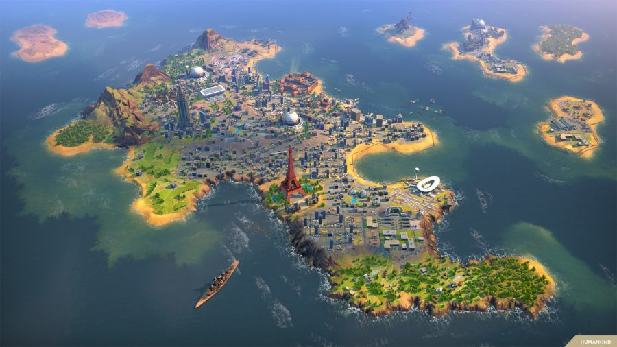 A small island city, with a battleship offshore, in strategy game Humankind