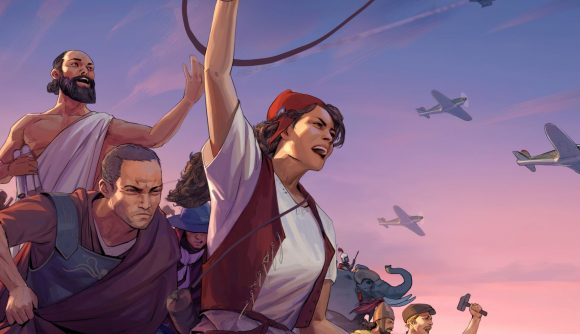 Illustration of characters from Humankind revolting as planes fly overhead