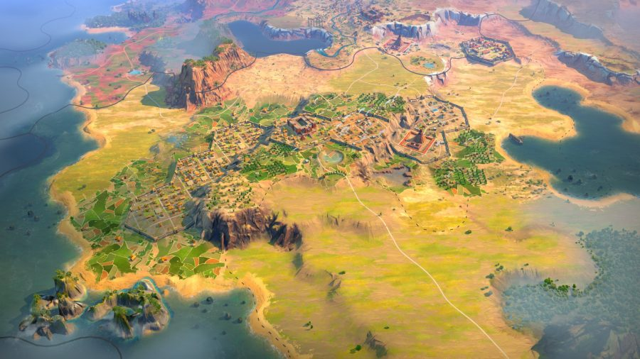 A city on a hilltop in strategy game Humankind
