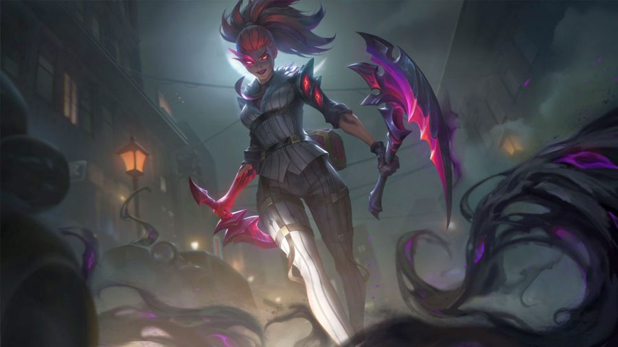 League of Legends champion Akali as a Crime City Nightmare skin, with purple hair and two pointed blades