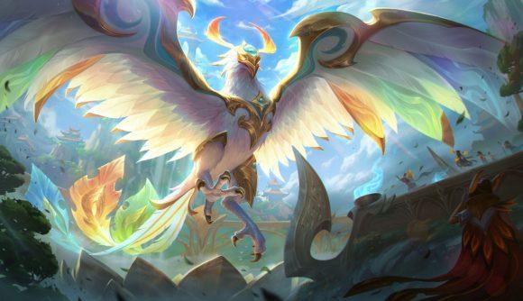 A shot of League of Legends champion Anivia in their Divine Phoenix skin