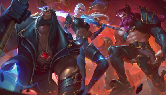 Three League of Legends champions in metal outfits as members of rock band Pentakill