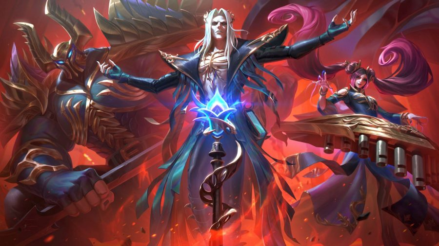 League of Legends champions Karthus, Mordekaiser, and Sona in their Pentakill skins