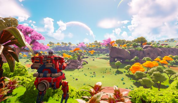 Surveying the site of a future farm in Lightyear Frontier