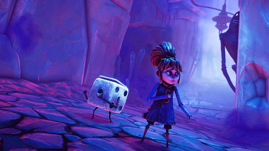 A cartoon-like girl in a spooky blue cave next to a dice with arms and legs in Lost in Random, a deck-building game