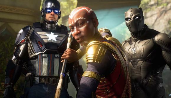 Captain America, Okoye, and Black Panther appear in the War for Wakanda expansion for Marvel's Avengers.