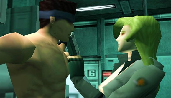 A shirtless Snake is interrogated in